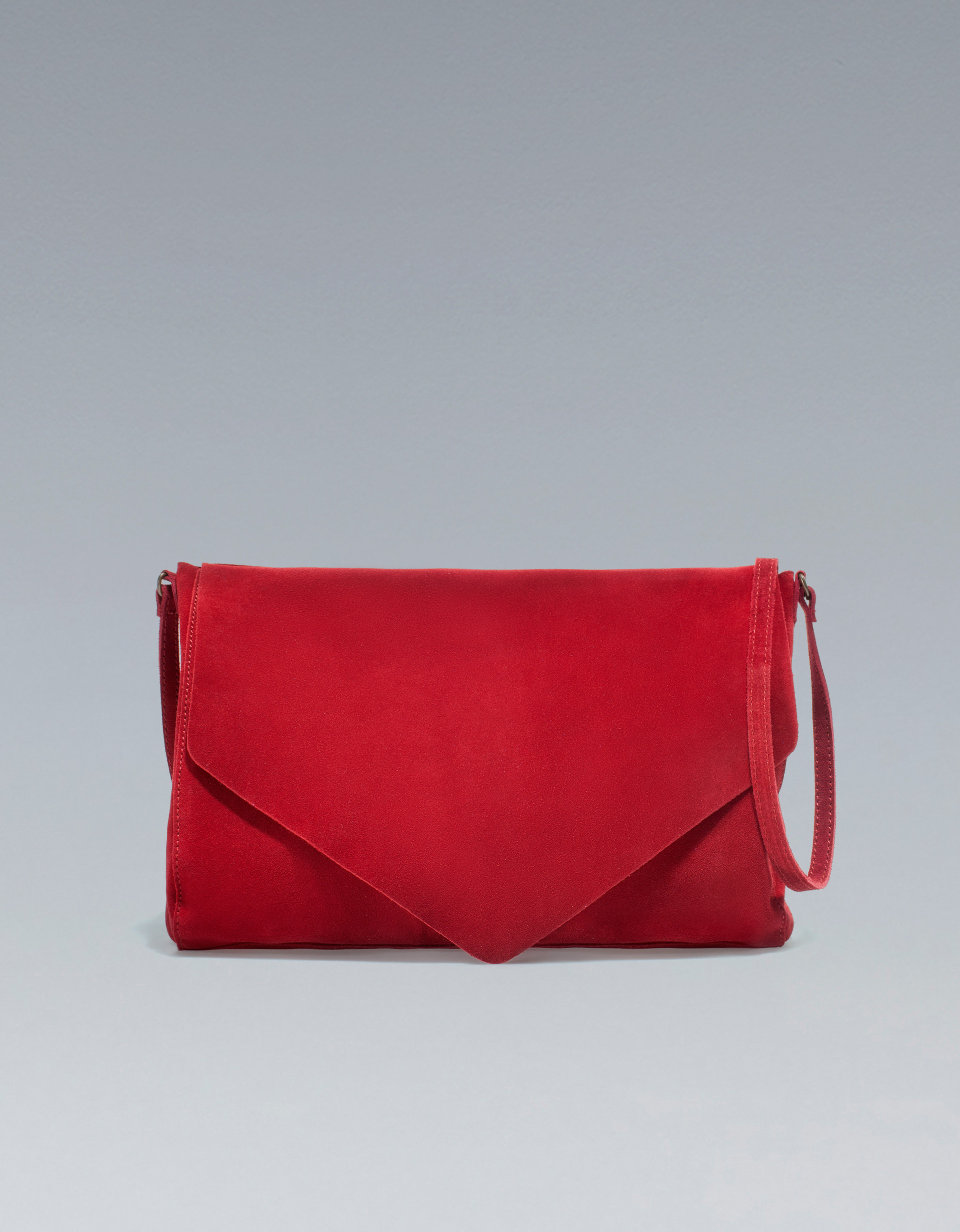 Zara Suede Messenger Bag in Red | Lyst