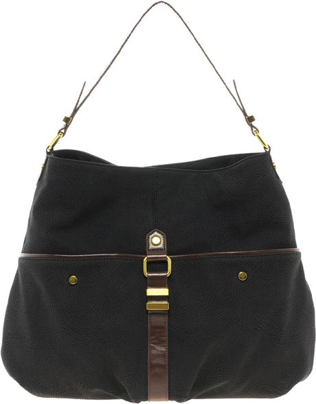 Asos Metal Keeper Hobo Bag in Black