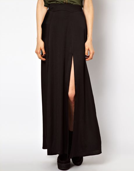 asos collection asos silky maxi skirt with split in