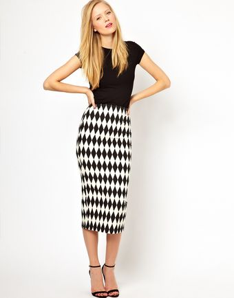ASOS Collection Pencil Skirt in Diamond Jacquard - Lyst