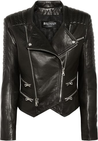 Balmain Quilted Leather Biker Jacket - Lyst