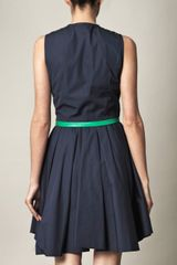 Boy By Band Of Outsiders Leather Trim Dress in Blue (navy) - Lyst