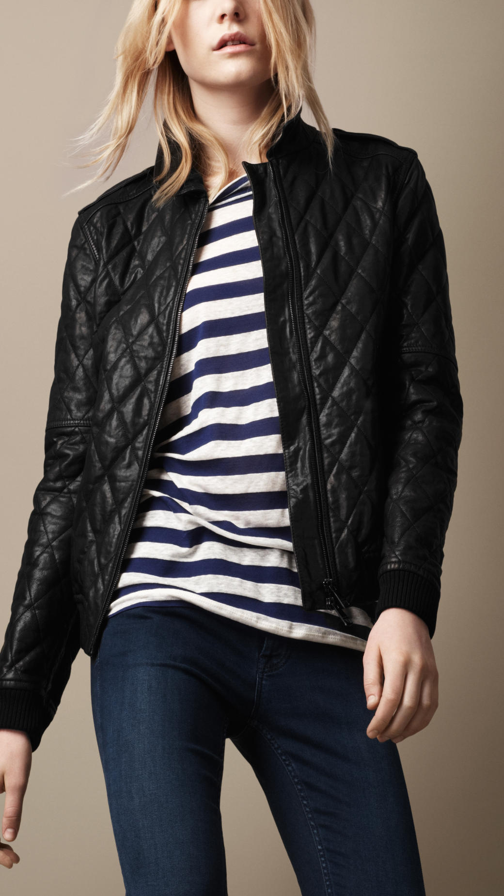 Burberry brit Quilted Leather Bomber Jacket in Black | Lyst