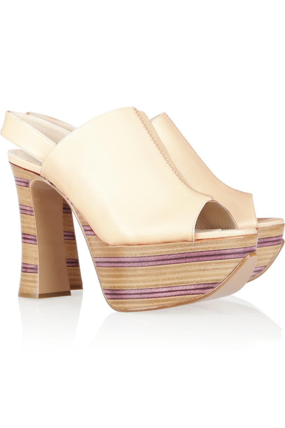 chlo 233 striped wooden heel leather platform sandals in