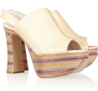 Chloé Striped Wooden Heel Leather Platform Sandals - Lyst