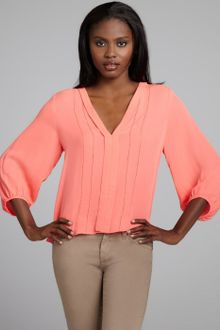 Dolce Vita Story Petticoat Embroider Blouse in Coral in Pink (coral