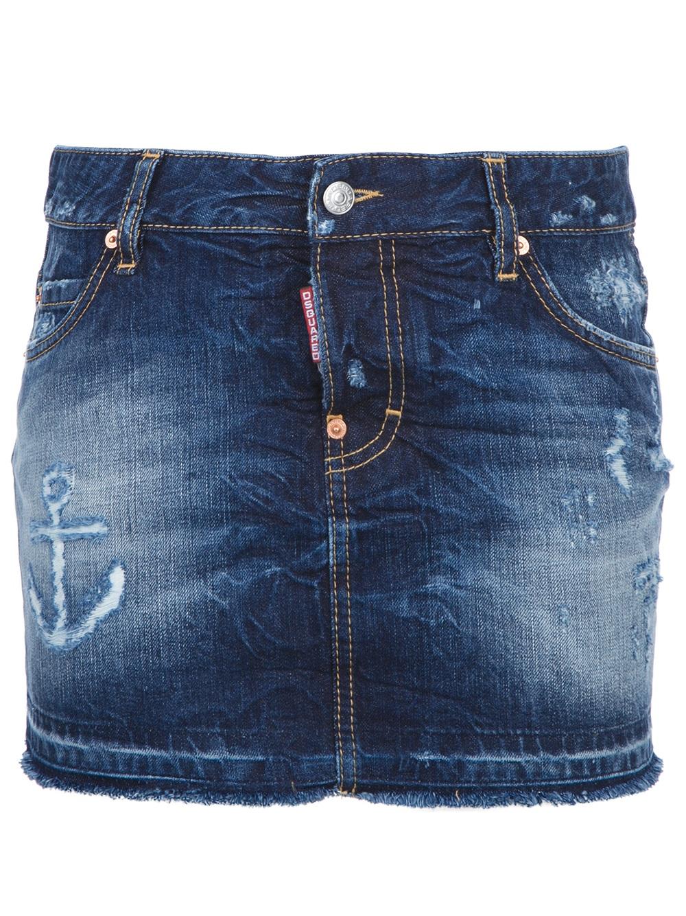 dsquared2 denim mini skirt in blue denim lyst