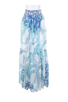 Emilio Pucci Hydrangea Print Maxi Skirt in Silk and Cotton Veil - Lyst