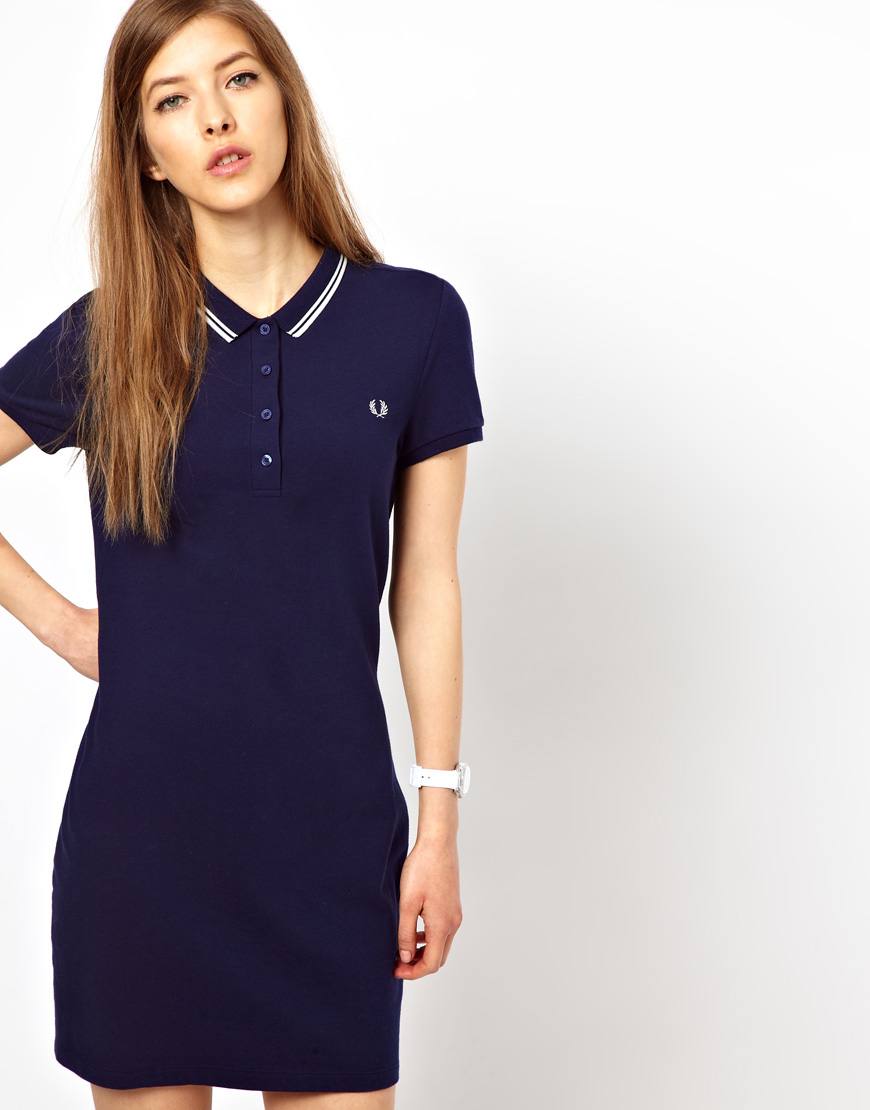 Perry Tipped Dress Fred Polo Twin Blue In Lyst Shirt 8yOPvNwmn0
