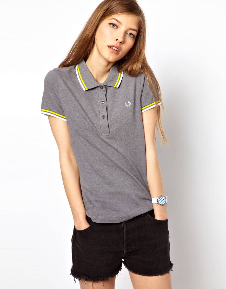 Lyst - Fred Perry Tipped Polo Shirt in Gray