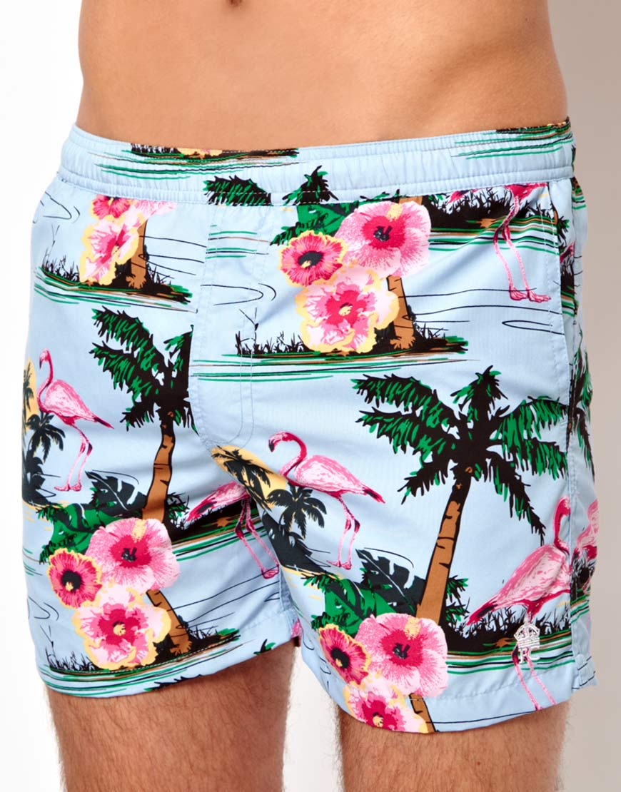 e96414779d French Connection Flamingo Swim Short in Blue for Men - Lyst