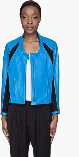 Helmut Lang Sky Blue Colorblocked Reversible Leather Jacket - Lyst