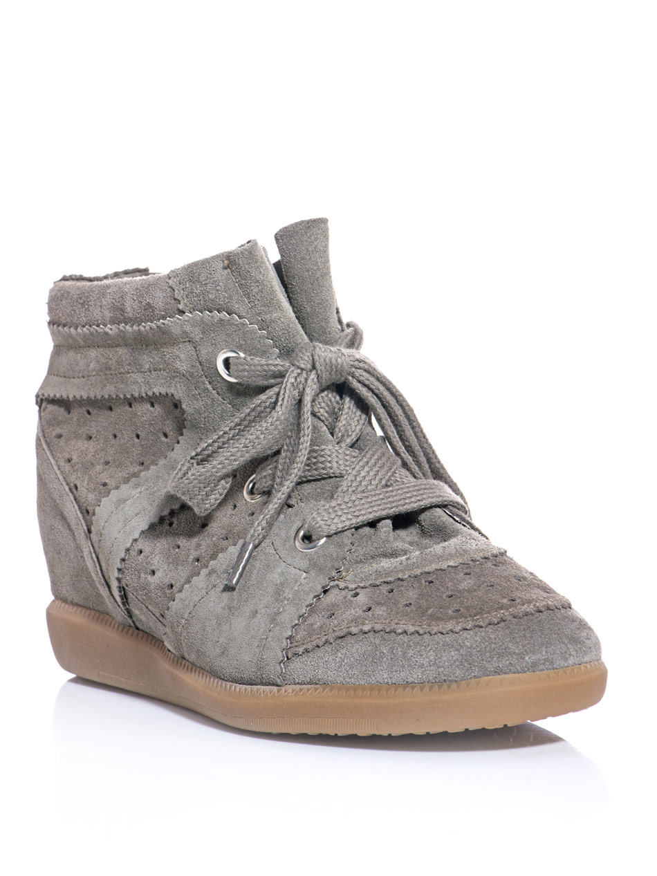isabel marant bobby wedge sneakers in gray grey lyst. Black Bedroom Furniture Sets. Home Design Ideas