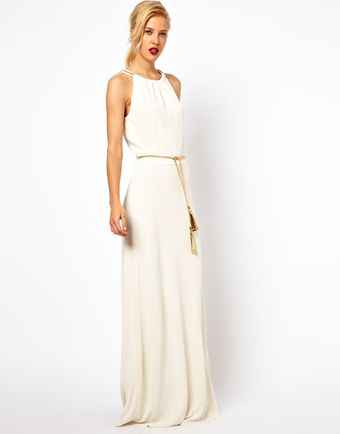 Mango Train Trim Maxi Dress with Belt - Lyst