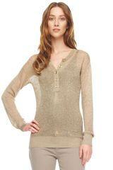 Michael by Michael Kors Metallic Mesh Henley Top - Lyst