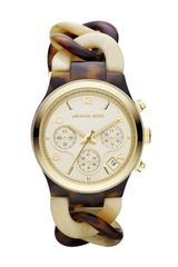Michael Kors Midsize Creamhorn Acetate Runway Watch - Lyst