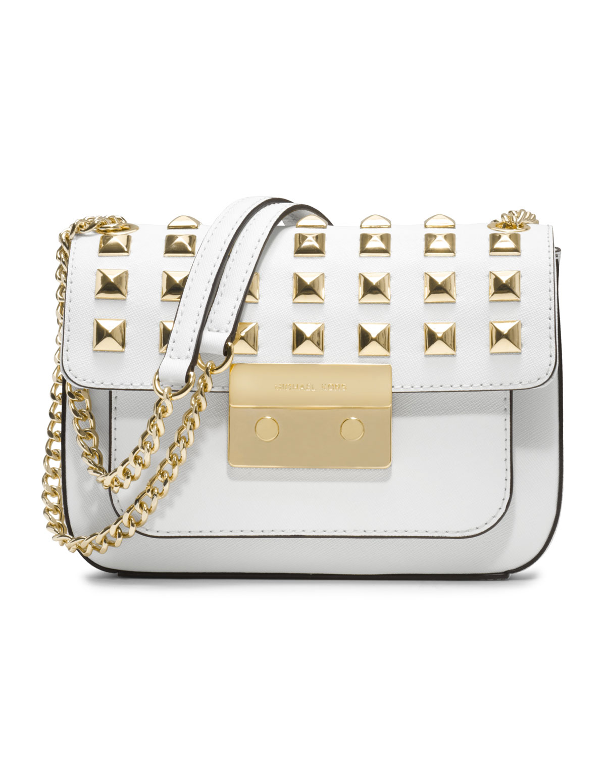 ccc9cbbe6d32 Lyst - Michael Kors Small Sloan Pyramidstud Saffiano Flap Bag in White