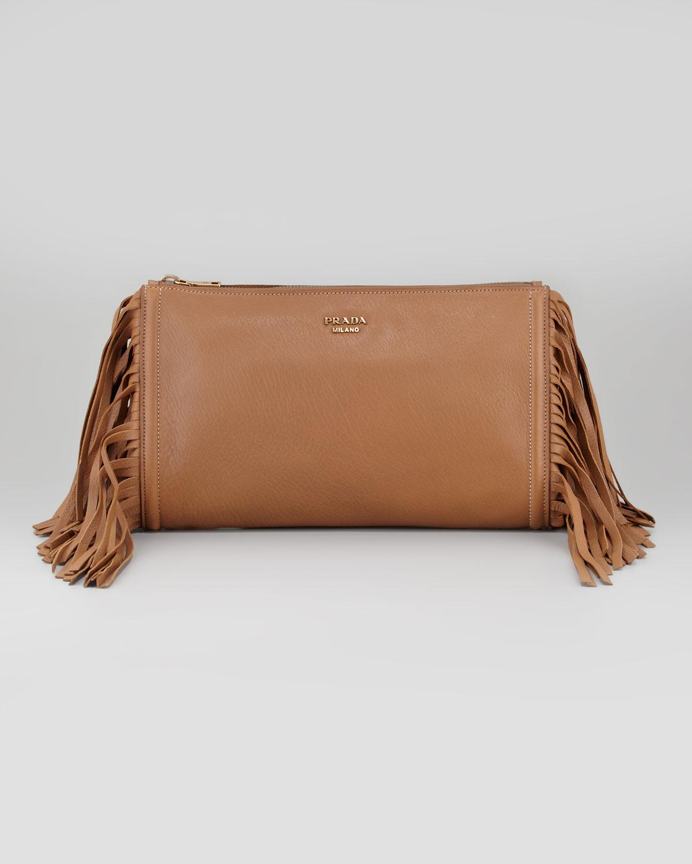 Prada Cervo Fringe Clutch Bag in Brown (dark camel) | Lyst