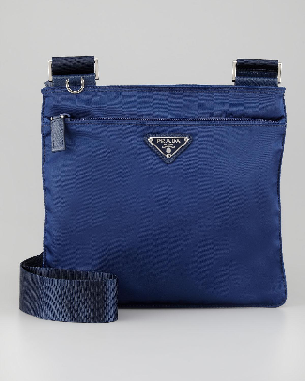 eae5fee7fce5 ... inexpensive prada vela crossbody messenger bag in blue lyst 69a20 6ea56