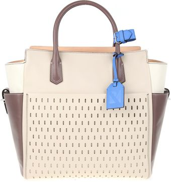 Reed Krakoff Perforated Glazed Leather and Canvas Atlantique Bag  - Lyst