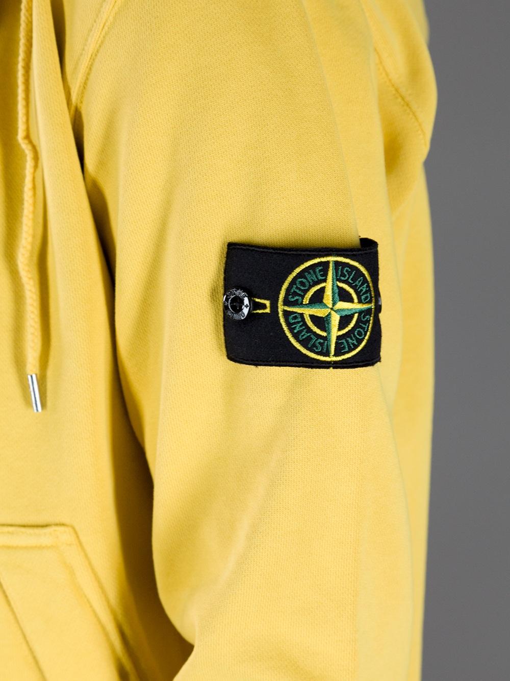 Stone island Hooded Sweatshirt in Yellow for Men - Lyst