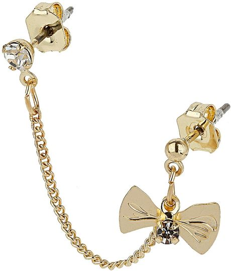 Topshop Bow Double Stud Earrings in Gold