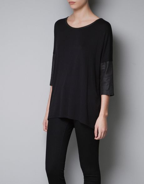 Zara Tshirt with Combination Sleeves in Black - Lyst