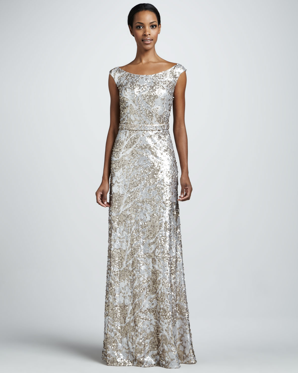 David meister Sequined Lace Capsleeve Gown in Metallic | Lyst