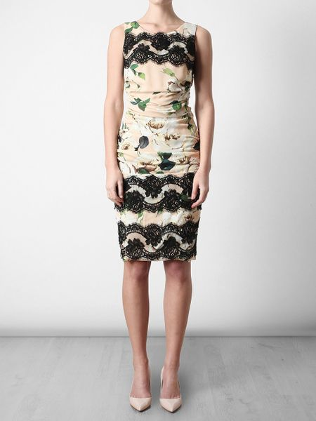 Dolce Amp Gabbana Ruched Crepe And Lace Floral Printed Dress