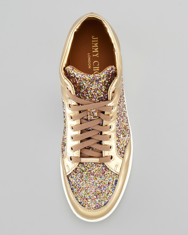 87d1660f1020 Jimmy Choo Miami Lowtop Glitter Sneaker Gold in Metallic - Lyst