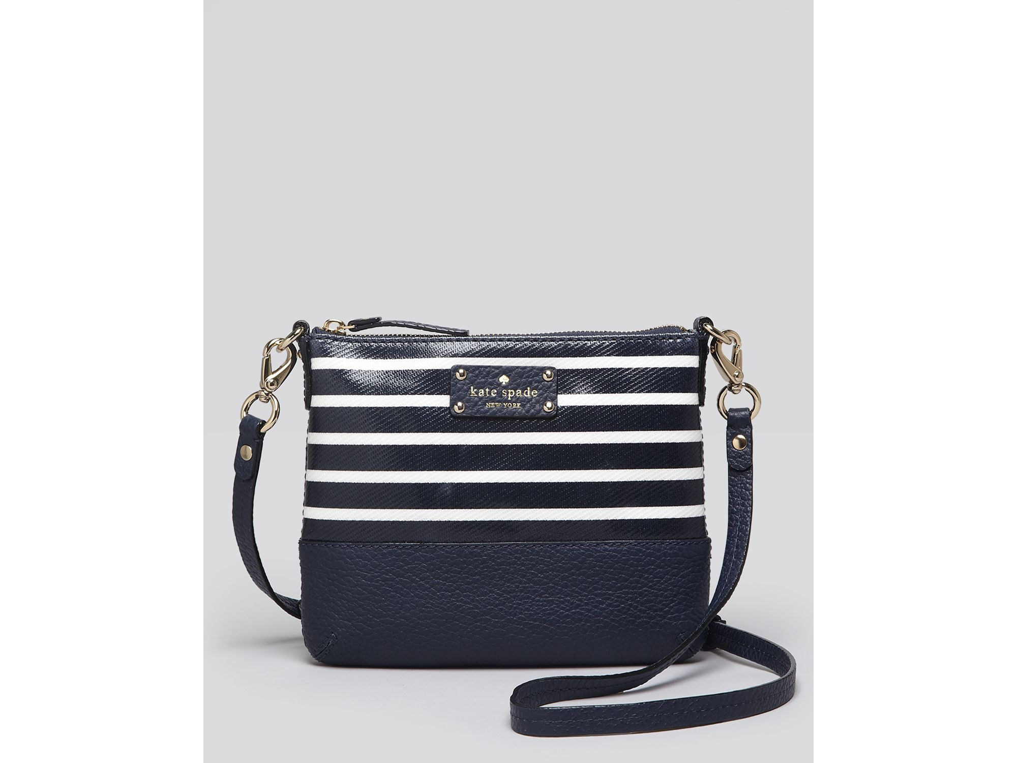 kate space navy blue striped purse