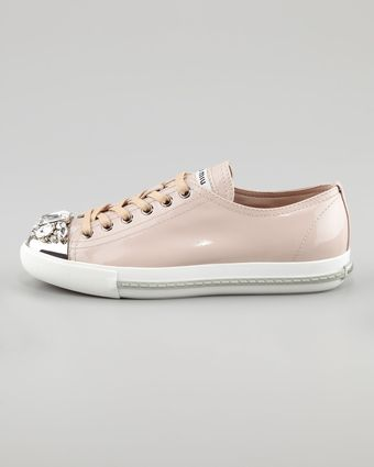 Miu Miu Jeweled Captoe Sneaker - Lyst