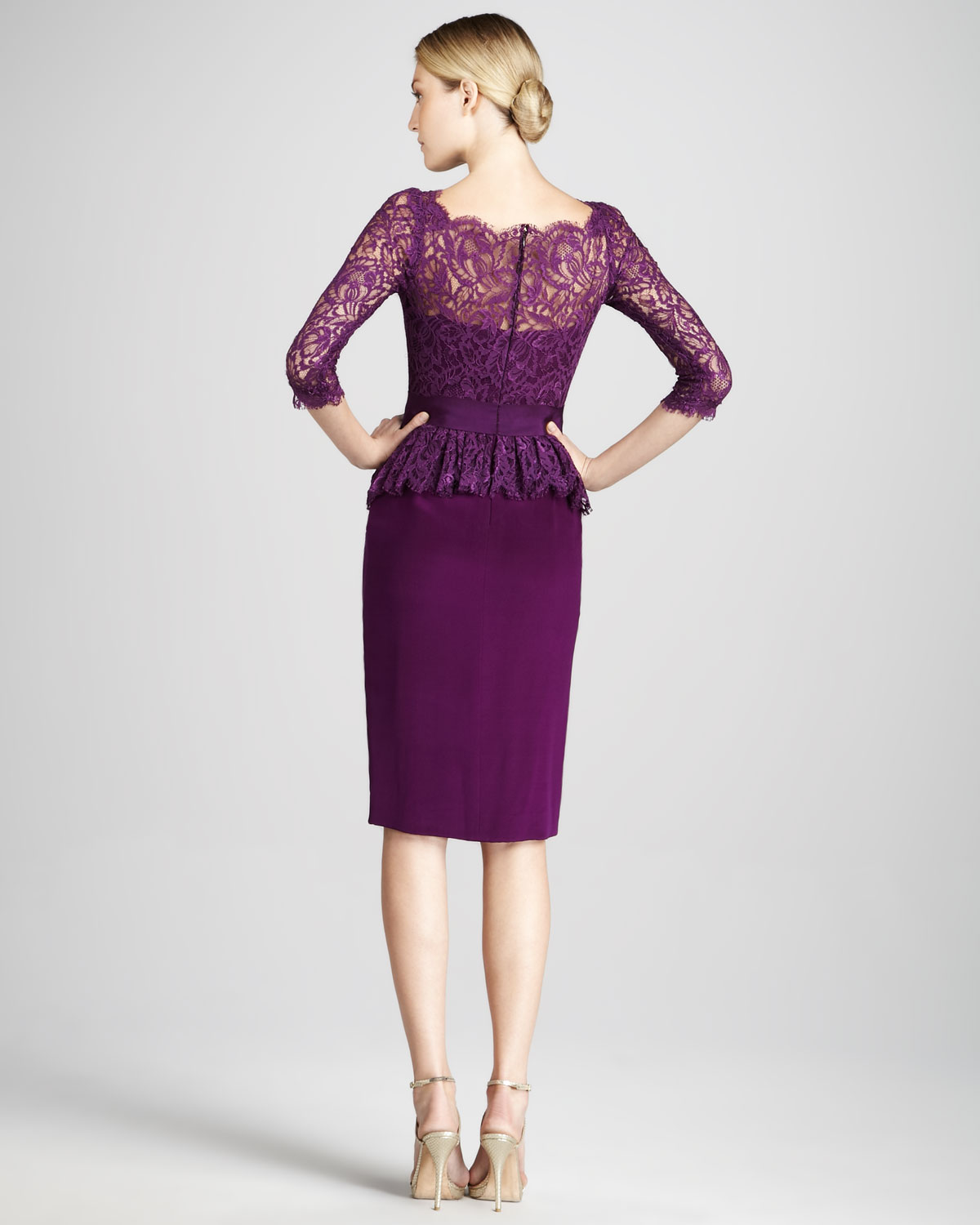 Lyst - Notte By Marchesa Threequarter Sleeve Cocktail Dress with ...