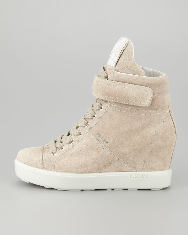 98034d1ab055 Lyst - Prada Suede Hitop Wedge Sneaker Pomice in Natural