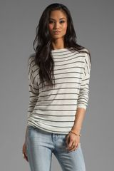 Vince Striped Boatneck Sweater in Milkblack - Lyst