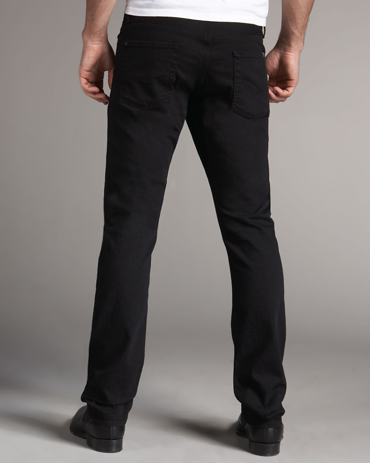 7 for all mankind Slimmy Black Jean in Black for Men | Lyst