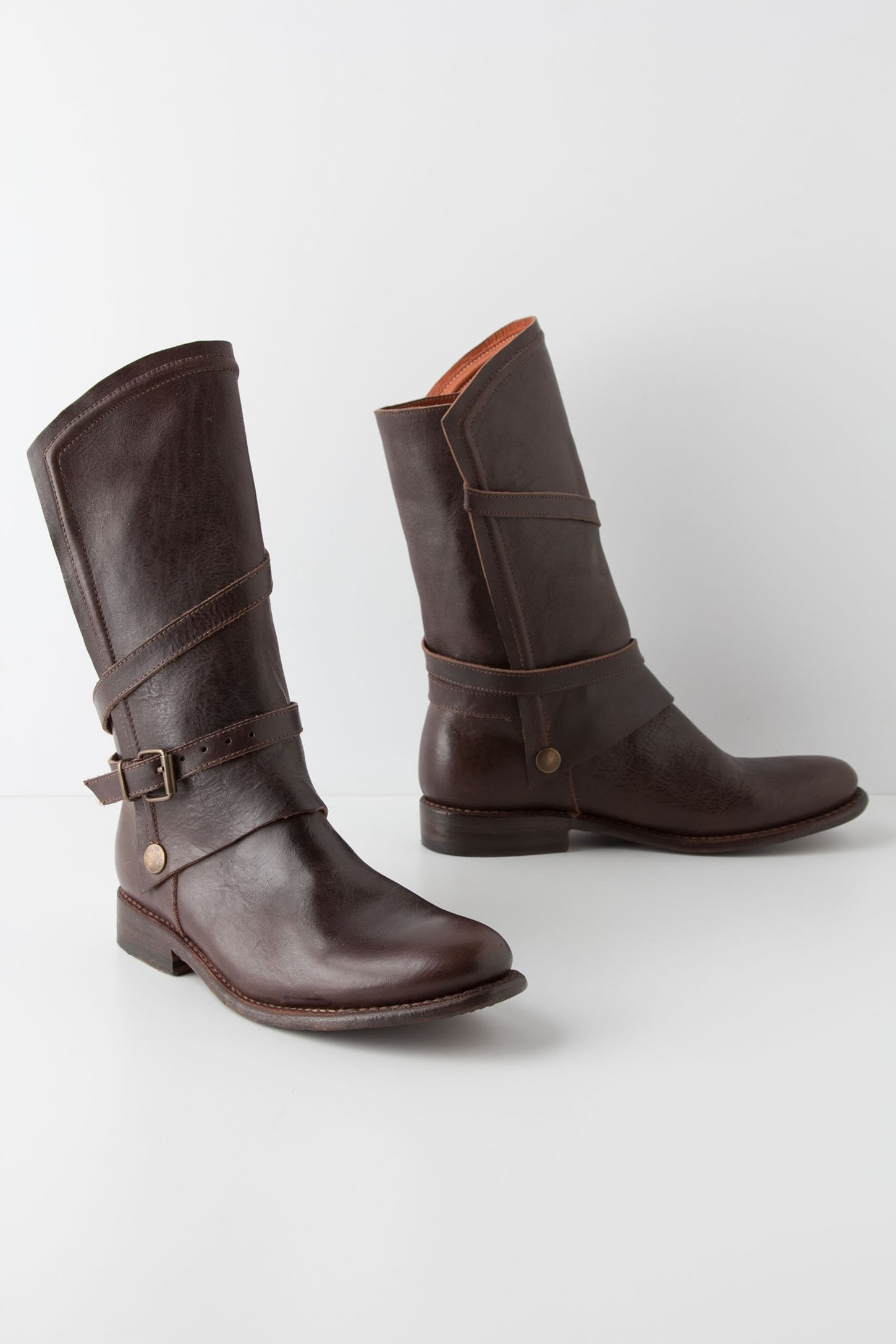 anthropologie gallop midboots in brown lyst