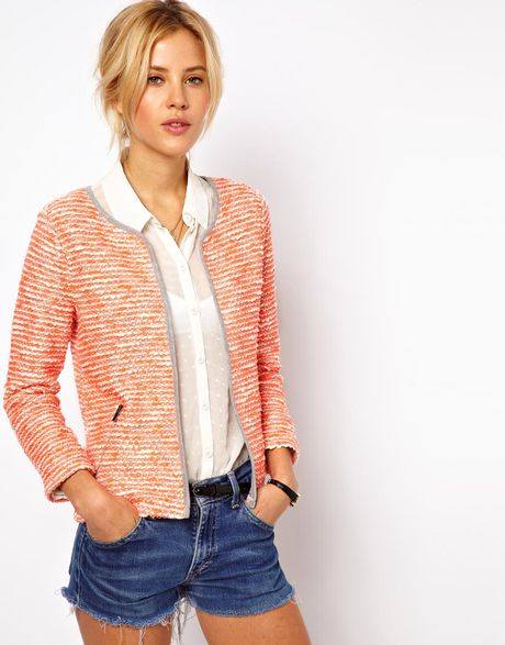 Asos Blazer in Fluro Boucle in Orange