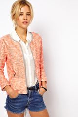 Asos Blazer in Fluro Boucle in Orange - Lyst