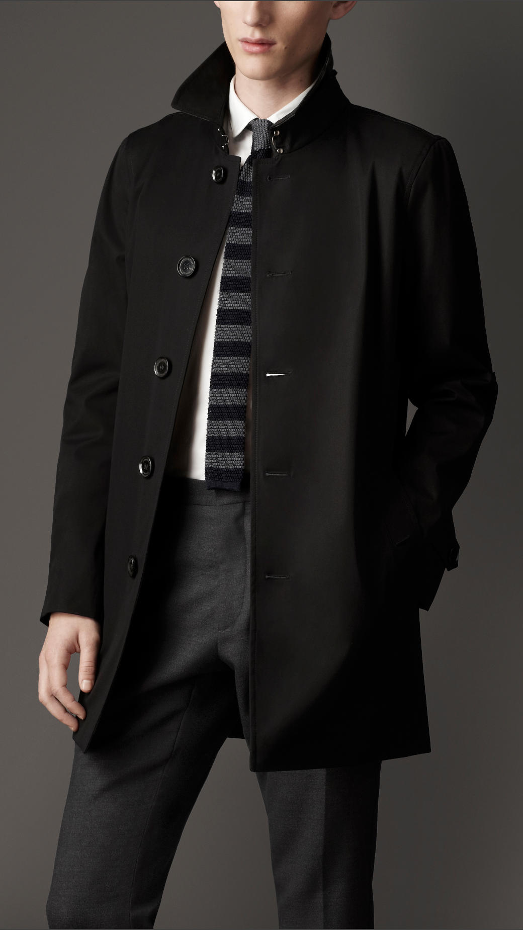 Burberry Resinated Cotton Car Coat in Black for Men | Lyst