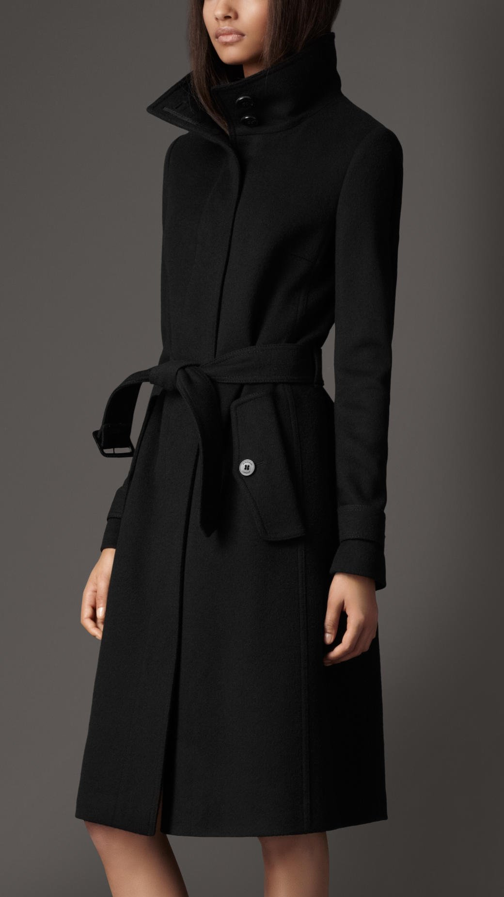 Burberry Wool Cashmere Coat in Black | Lyst