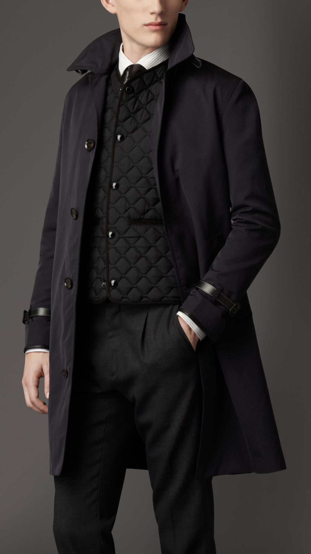 Burberry Belted Car Coat in Blue for Men | Lyst