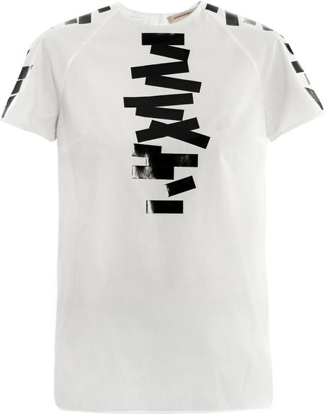 Christopher Kane Blacktape Top in White (black) - Lyst