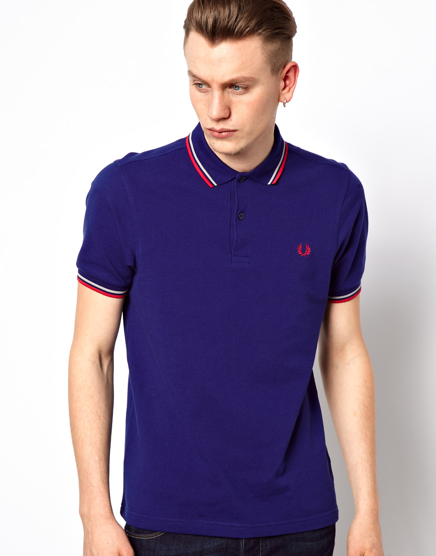 lyst fred perry slim polo with twin tip in blue for men. Black Bedroom Furniture Sets. Home Design Ideas