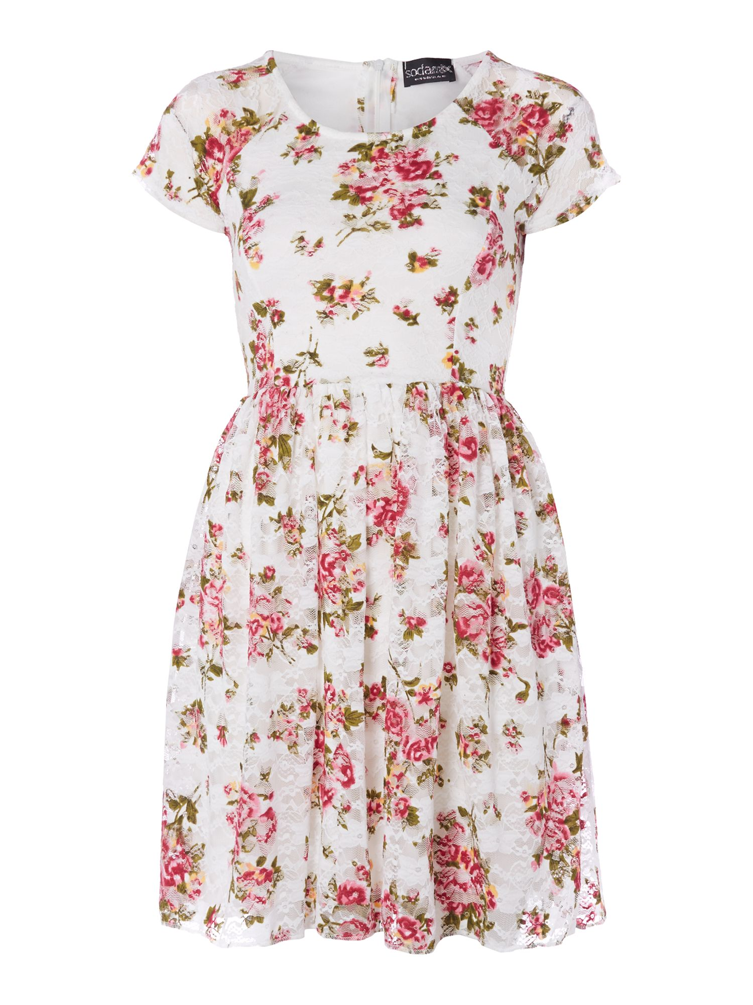 red cream floral dress