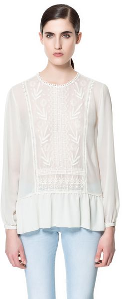 Zara Blouse with Embroidered Front - Lyst