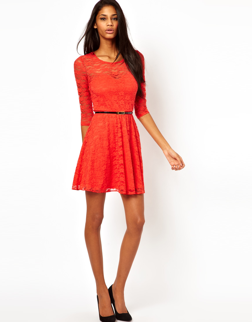 Lyst Asos Collection Skater Dress In Lace With Three