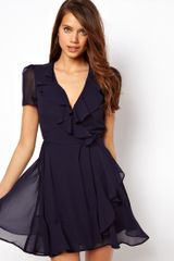 ASOS Collection Asos Skater Dress with Ruffle Wrap - Lyst