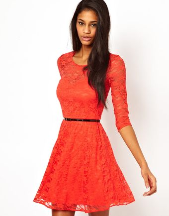 ASOS Collection Skater Dress in Lace with 34 Sleeves and Belt - Lyst