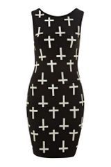 Ax Paris Glitter Cross Print Dress - Lyst